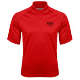 Red Textured Saddle Shoulder Polo-UIW Cardinal Head Stacked
