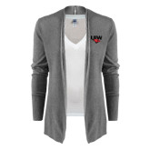 Ladies Heather Grey Open Front Cardigan-UIW Cardinal Head Stacked