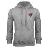 Grey Fleece Hood-UIW Cardinal Head Stacked