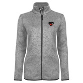 Grey Heather Ladies Fleece Jacket-UIW Cardinal Head Stacked