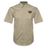 Khaki Twill Button Down Short Sleeve-UIW Cardinal Head Stacked