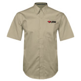 Khaki Twill Button Down Short Sleeve-Cardinal Head UIW