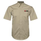 Khaki Twill Button Down Short Sleeve-Cardinal Head UIW
