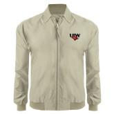 Khaki Players Jacket-UIW Cardinal Head Stacked