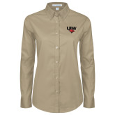 Ladies Khaki Twill Button Down Long Sleeve-UIW Cardinal Head Stacked