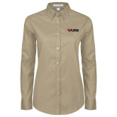 Ladies Khaki Twill Button Down Long Sleeve-Cardinal Head UIW