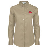 Ladies Khaki Twill Button Down Long Sleeve-Cardinal Head