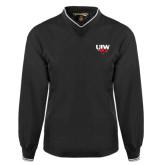 Black Executive Windshirt-UIW Cardinal Head Stacked