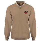 Khaki Executive Windshirt-UIW Cardinal Head Stacked