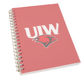 Clear 7 x 10 Spiral Journal Notebook-UIW Cardinal Head Stacked