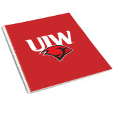 College Spiral Notebook w/Clear Coil-UIW Cardinal Head Stacked