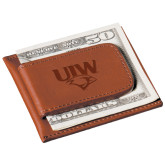 Cutter & Buck Chestnut Money Clip Card Case-UIW Cardinal Head Stacked Engraved