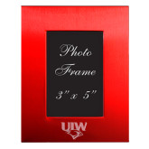 Red Brushed Aluminum 3 x 5 Photo Frame-UIW Cardinal Head Stacked Engraved