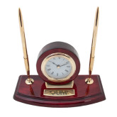 Executive Wood Clock and Pen Stand-Cardinal Head UIW Engraved