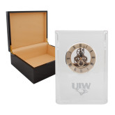 Grand Crystal Clock in Rosewood Box-UIW Cardinal Head Stacked Engraved