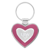 Silver/Pink Heart Key Holder-UIW Cardinal Head Stacked Engraved