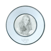 Silver Two Tone Small Round Photo Frame-UIW Cardinal Head Stacked Engraved