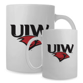 Full Color White Mug 15oz-UIW Cardinal Head Stacked