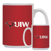 Full Color White Mug 15oz-Cardinal Head UIW