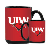 Full Color Black Mug 15oz-UIW Cardinal Head Stacked