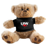 Plush Big Paw 8 1/2 inch Brown Bear w/Black Shirt-UIW Cardinal Head Stacked