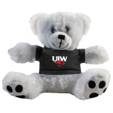 Plush Big Paw 8 1/2 inch White Bear w/Black Shirt-UIW Cardinal Head Stacked