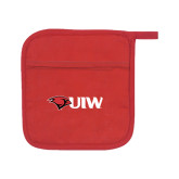 Quilted Canvas Red Pot Holder-Cardinal Head UIW