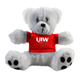 Plush Big Paw 8 1/2 inch White Bear w/Red Shirt-UIW Cardinal Head Stacked