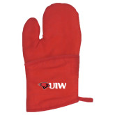 Quilted Canvas Red Oven Mitt-Cardinal Head UIW