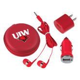 3 in 1 Red Audio Travel Kit-UIW Cardinal Head Stacked