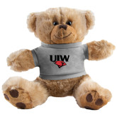 Plush Big Paw 8 1/2 inch Brown Bear w/Grey Shirt-UIW Cardinal Head Stacked