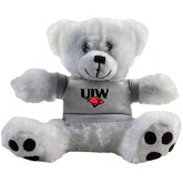 Plush Big Paw 8 1/2 inch White Bear w/Grey Shirt-UIW Cardinal Head Stacked