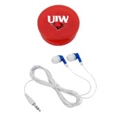 Ear Buds in Red Case-UIW Cardinal Head Stacked