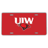 License Plate-UIW Cardinal Head Stacked