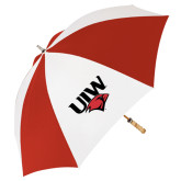 62 Inch Red/White Vented Umbrella-UIW Cardinal Head Stacked