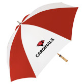 62 Inch Red/White Vented Umbrella-Cardinals w/ Cardinal Head