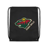 Black Drawstring Backpack-Iowa Wild w Bear Head