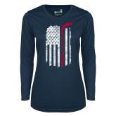 Ladies Syntrel Performance Navy Longsleeve Shirt-Veterans Appreciation