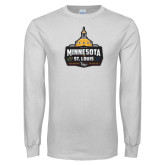 White Long Sleeve T Shirt-Minnesota vs St Louis