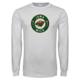 White Long Sleeve T Shirt-Iowa Wild Distressed Circle Logo