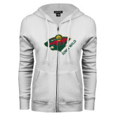 ENZA Ladies White Fleece Full Zip Hoodie-Iowa Wild w Bear Head