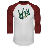 White/Cardinal Raglan Baseball T Shirt-Primary Mark