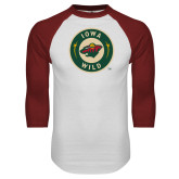 White/Cardinal Raglan Baseball T Shirt-Secondary Mark