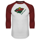 White/Cardinal Raglan Baseball T Shirt-Iowa Wild w Bear Head