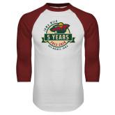 White/Cardinal Raglan Baseball T Shirt-5 Years