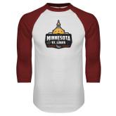 White/Cardinal Raglan Baseball T Shirt-Minnesota vs St Louis
