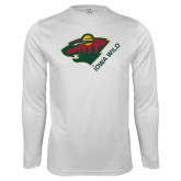 Performance White Longsleeve Shirt-Iowa Wild w Bear Head