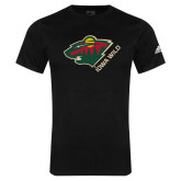 Adidas Black Logo T Shirt-Iowa Wild w Bear Head
