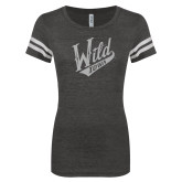 ENZA Ladies Black/White Vintage Triblend Football Tee-Primary Mark White Soft Glitter