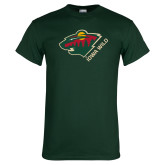 Dark Green T Shirt-Iowa Wild w Bear Head